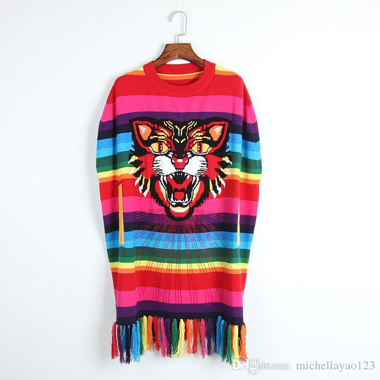 Runway Dress 2017 Rainbow Tiger Embroidery Tassels Long Women Knitting Dress High End Striped Long Pullovers Women DH074