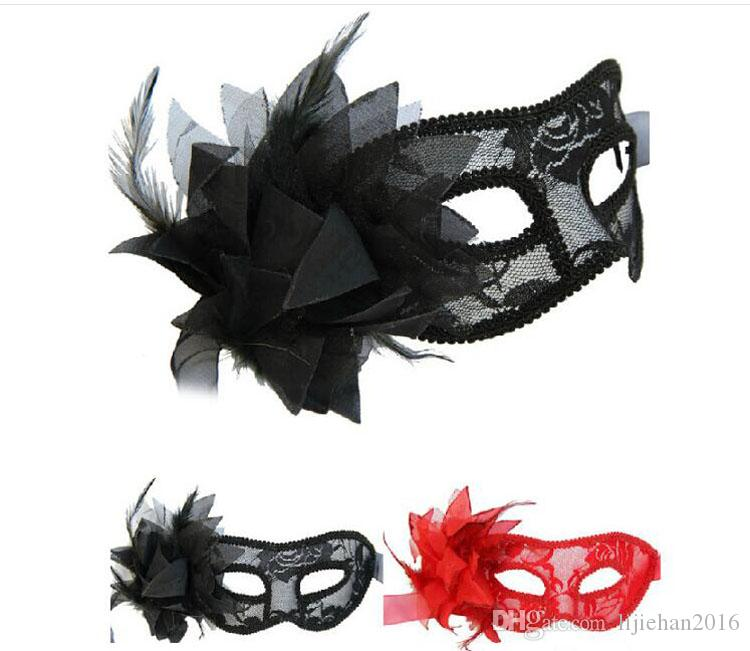 Venetian Lace Mask with Flower for Masquerades, Costume Balls, Prom, Mardi Gras 3 Colors (Black Red White)