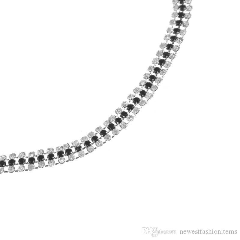 New Copper Beads Rhinestone Choker Collar Necklace for Women Girls Simple Neck Chocker Jewelry Wholesale XR710