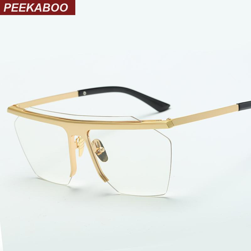 c47ae49cdd8a2 Wholesale- Peekaboo 2017 Gold Rimless Eye Glasses Frames for Men Big ...