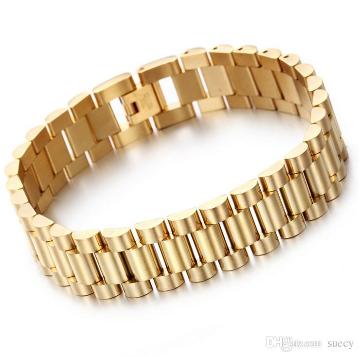Top Quality 15mm * 22CM Luxury Mens Womens Watch Band Bracelet Gold Silver 316L Stainless Steel Strap Cuff Bangles Jewelry Gifts