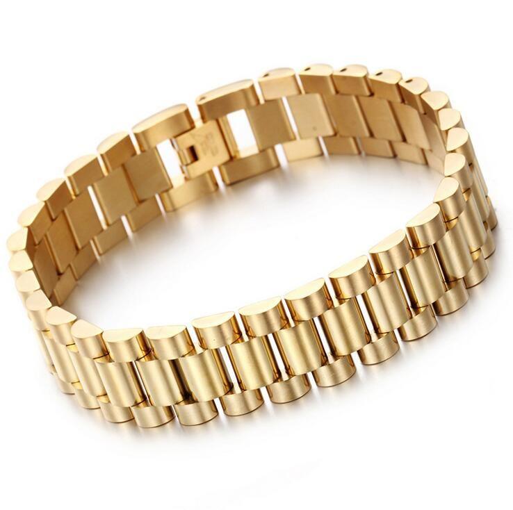 Top Quality 15mm Luxury Mens Womens Watch Band Pulseira de Ouro Prata 316L Aço Inoxidável Watchband Strap Cuff Bangles Jóias Presentes
