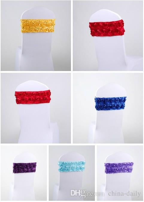 Free EMS DHL No need to Tie the Knot Elastic Flower Wedding Chair Cover Sashes Sash Party Banquet Decoration Decor