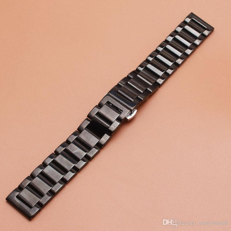 2017 hot Black Metal Watch band Watchband strap bracelet 18mm 20mm 21mm 22mm 23mm 24mm watch accessories for wrist Smart watch polished belt