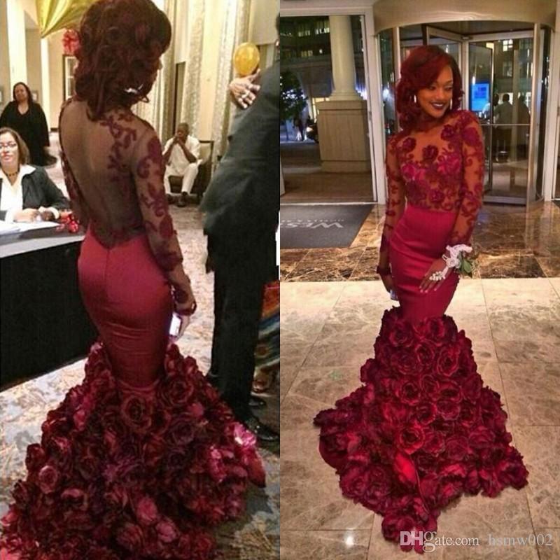 Real Simple Borgogna Sirena Prom Dresses Scoop Neck Appliques di Pizzo Backless Prom Dress Che Borda Lunghezza Del Pavimento vestido de festa Usura del partito