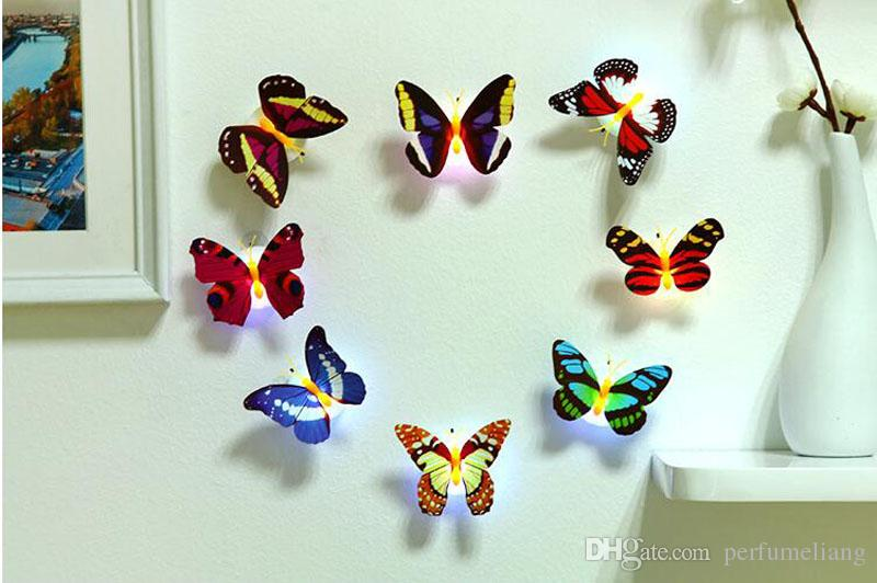 Buntes leuchtendes LED Schmetterlings-Nachtlicht mit Saugblock-Nachtlampe-Wand beleuchtet Innenraum-Ausgangspartei-Dekoration ZA3221