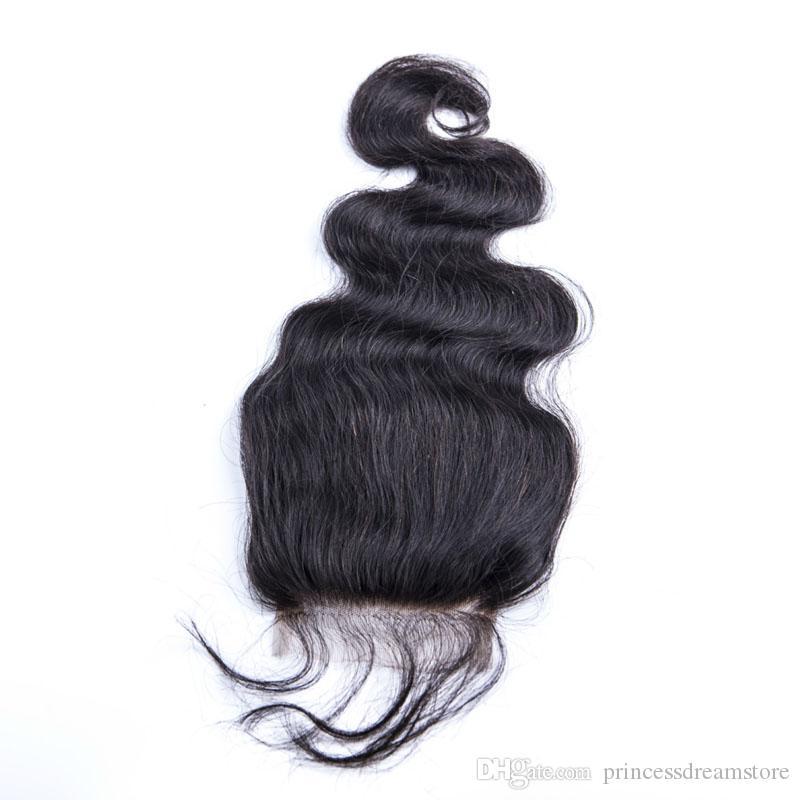 Brésil Beauté du corps humain Cheveux Natural Wave Noir 4 * 4 Dentelle Fermeture Trois Moyen libre Pièces 8-20 pouces
