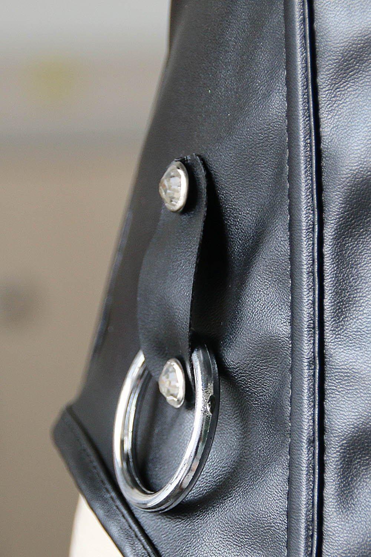 Corset bustier en cuir à boucle avant Femme avec bondage Anneaux Sexy Fetish Mistress PlaySuit Noir