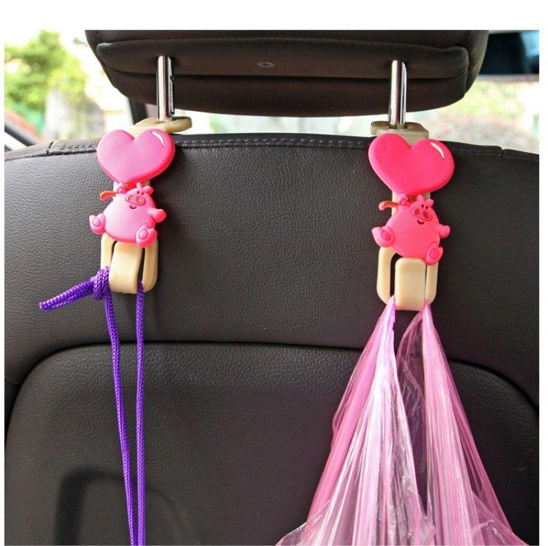 / ensemble universel mignon dessin animé voiture arrière siège cintre crochet pour sac sac à main tissu épicerie stockage auto fixation clip
