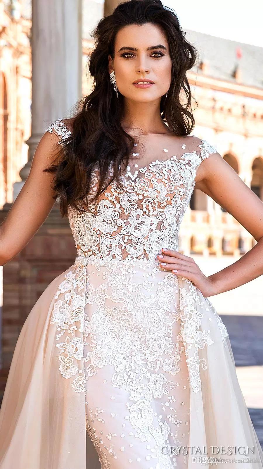 PROJETO DE CRISTAL 2019 Voltar Train Sheer vestidos de noiva tampado da luva Jewel Neck bordado destacável saia Bainha vestidos de casamento Baixo Longa