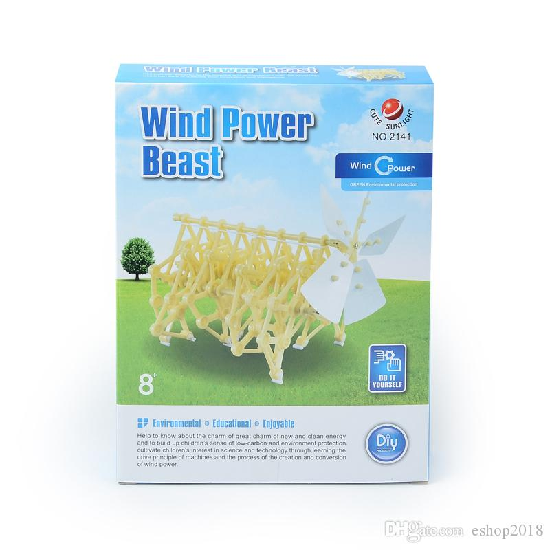 Puzzle assembled wind energy power car science and education puzzle wind energy power machine animal DIY self - puzzle toys