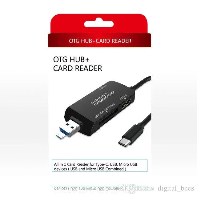 Type-C OTG Cable Adapter Hub Lector de tarjetas MMC MS SD TF M2 Data Sync Micro USB TypeC todo en uno Convertidor de teléfono móvil