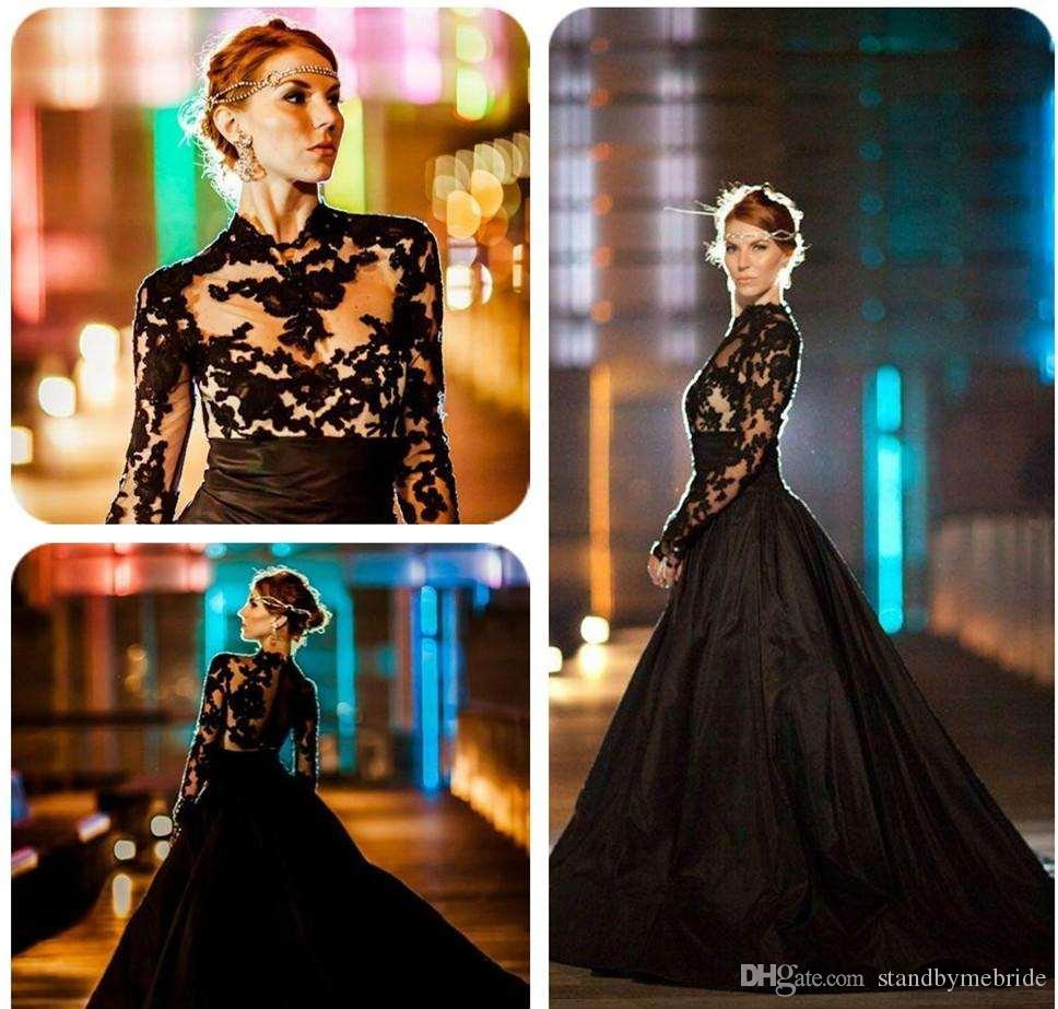 Gothic Black Lace Wedding Dress Long Ball Gown Bridal Gown: 2017 New Vintage Gothic Lace Ball Gown Black Wedding