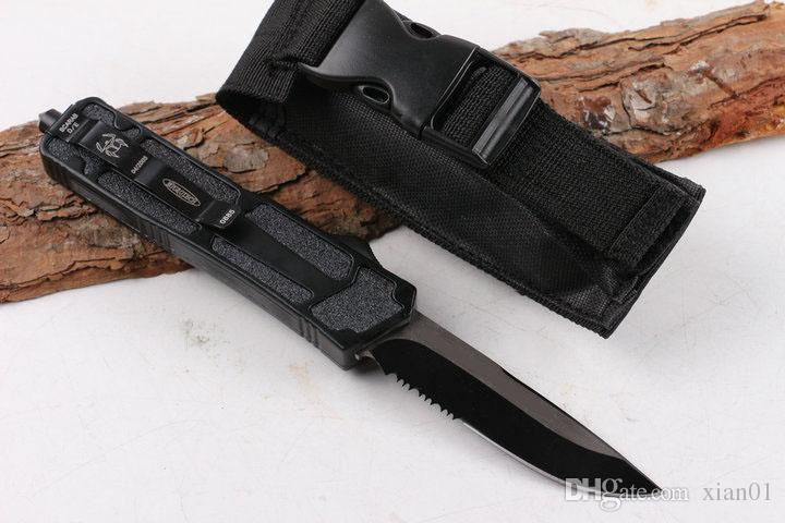 HOT Micro tech pocket blade single front half tooth tactical automatic knives camping fishing survival aviation aluminum +steel shot hand