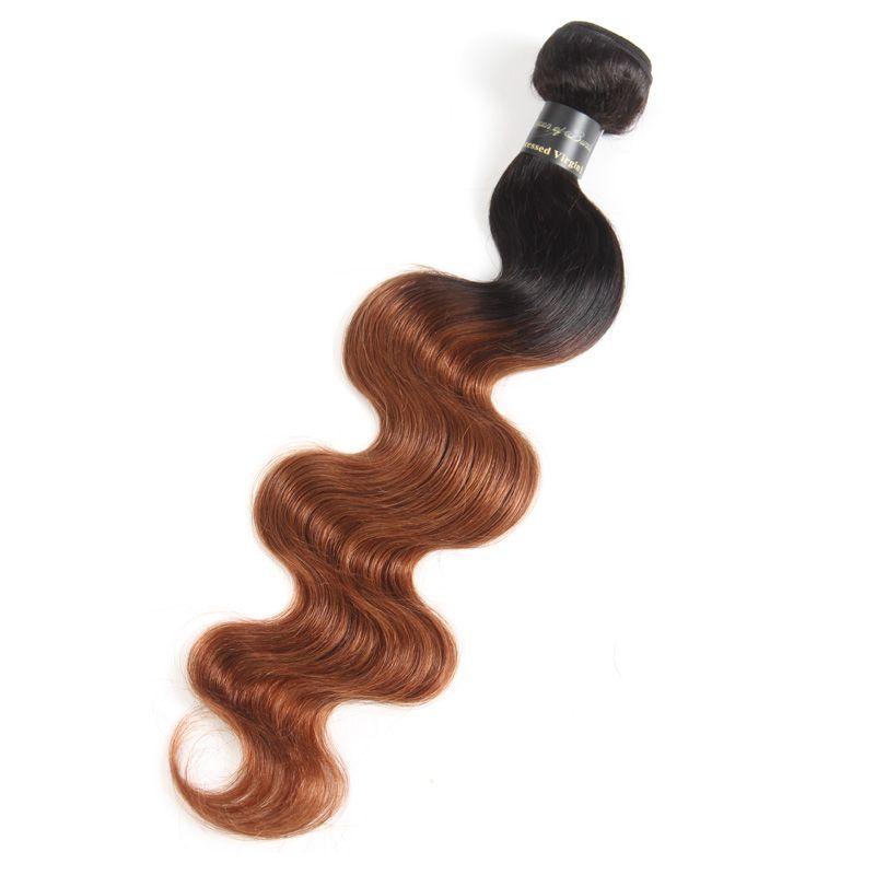 Ombre Body Wave Hair Weaves Malasia indio peruano brasileño Virgin Virgin Bundles bodywave Dos tonos Dark Roots Rubio Ombre Cabello humano