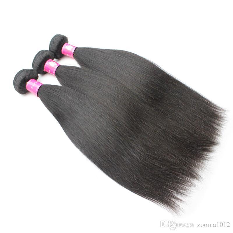 / 페루 버진 스트레이트 헤어 Weaves 1B 자연 블랙 브라질 레미 인간의 머리카락 확장 소프트 인디언 스트레이트 헤어 위사