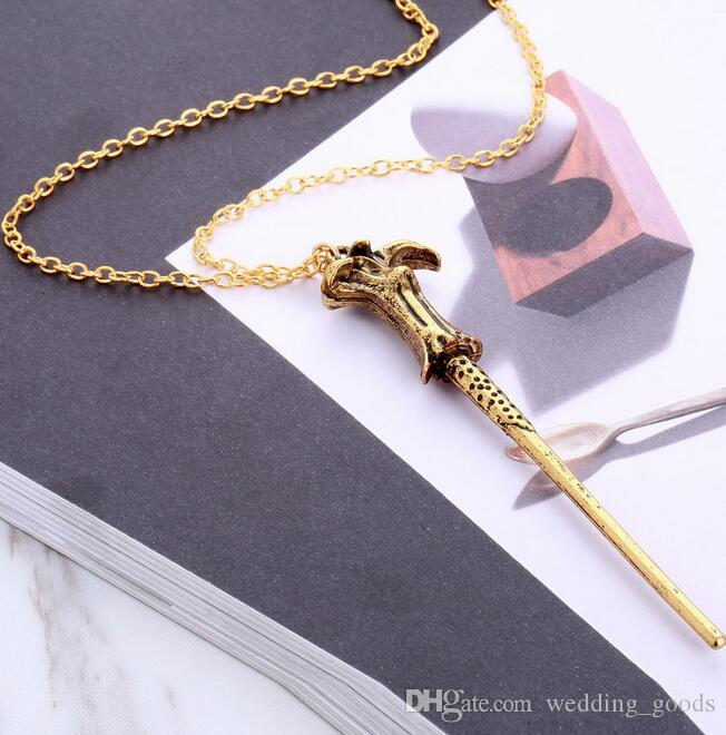 Hot sale Explosive Magic Stick Hermione Dumbledore wand pendant necklace WFN414 with chain a