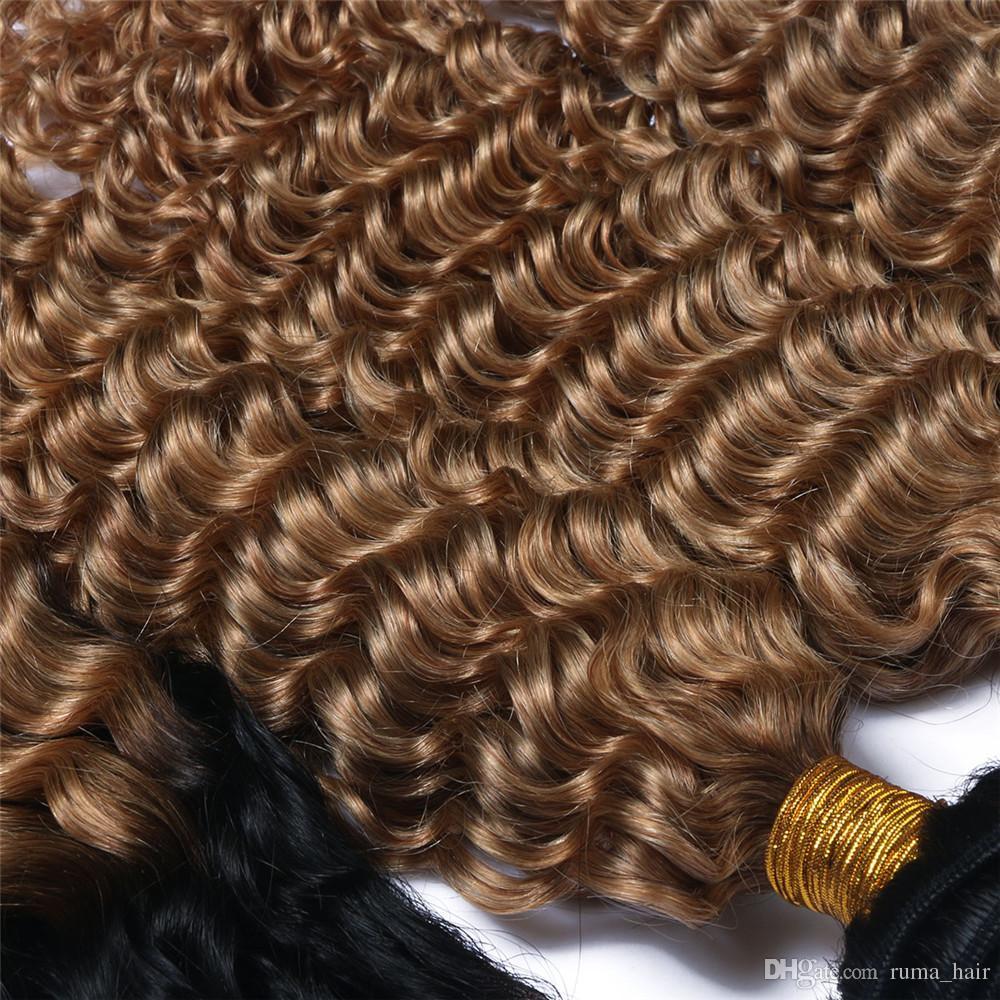 8a البرازيلي موجة عميقة 3 حزم طبقتان 1b / 27 أومبير مجعد الشعر موجة عميقة رخيصة الشعر حزم 3 قطعة ريمي سعر المصنع