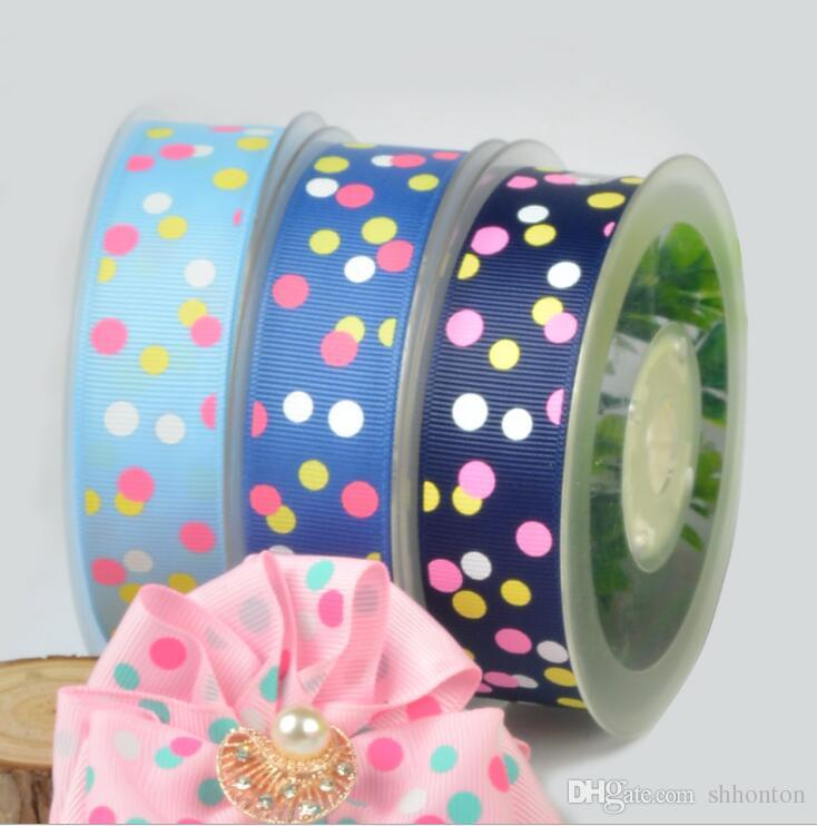 DIY decoration ribbons 25mm wide and 100 yards roll Printing color with dots Very good quality WT059