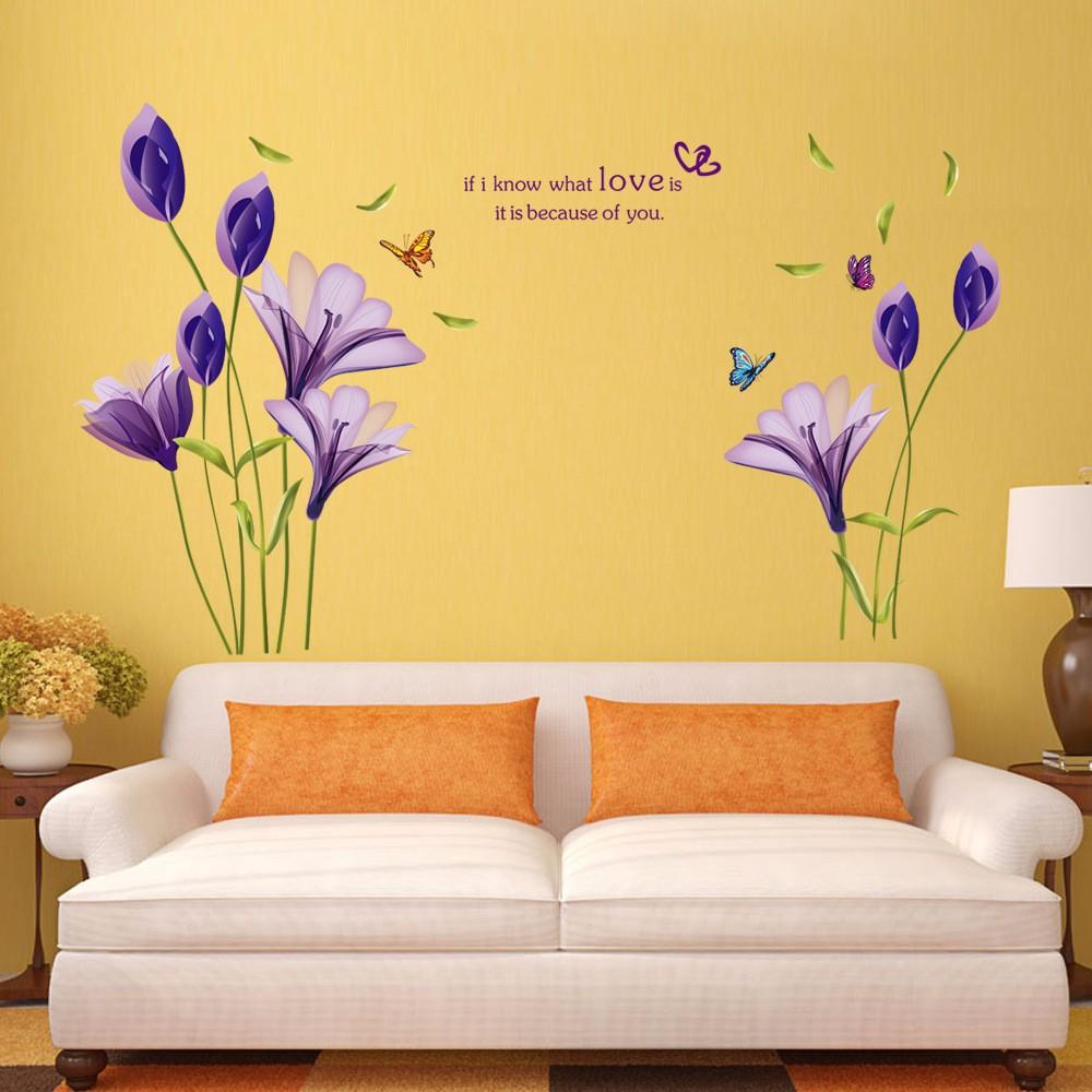 Background Screening Beautiful Flowers Purple Lilies Wall Stickers ...