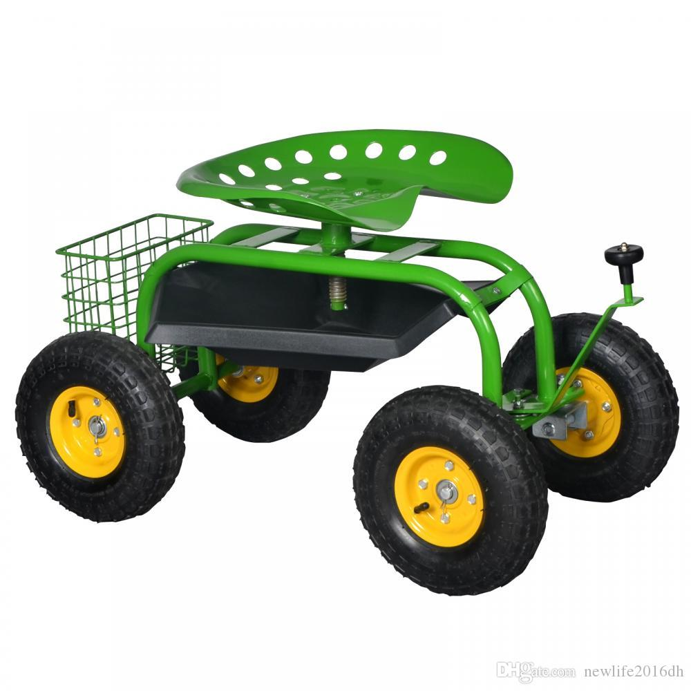 2018 green heavy duty gardening planting garden cart rolling work seat with tool tray from newlife2016dh 20703 dhgatecom - Garden Cart With Seat