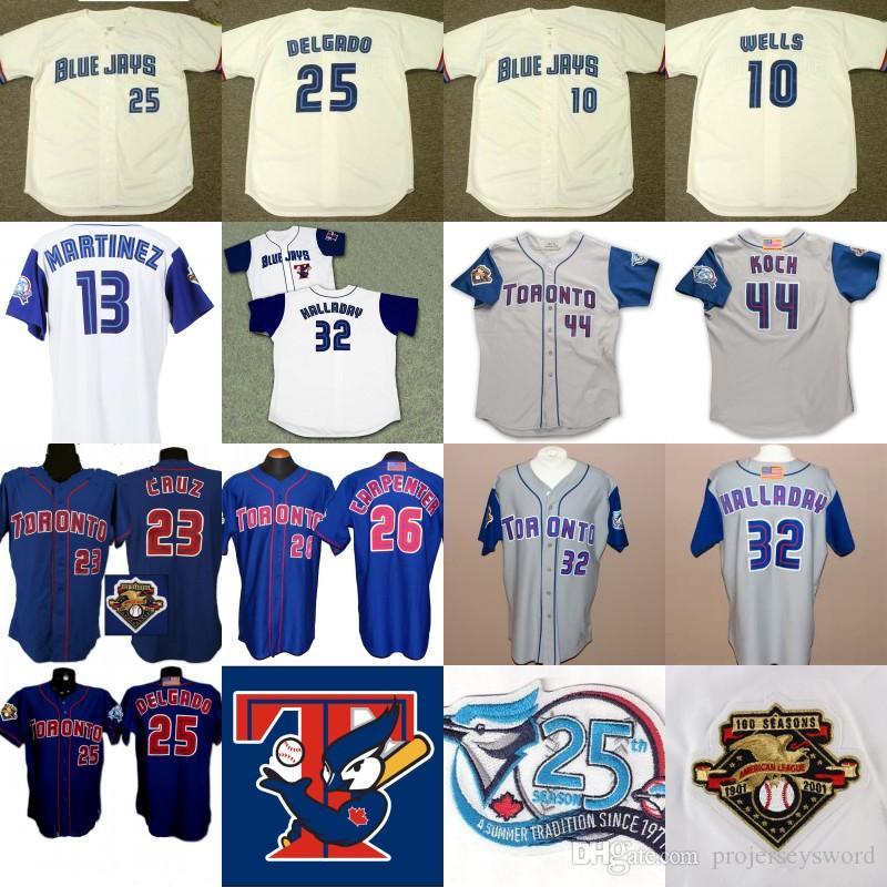 6b9e888d3 2019 2001 Toronto 25th Anniversary Patch 10 Vernon Wells 23 Jose Cruz 25 Carlos  Delgado 26 Chris Carpenter 32 Roy Halladay Baseball Jerseys From ...