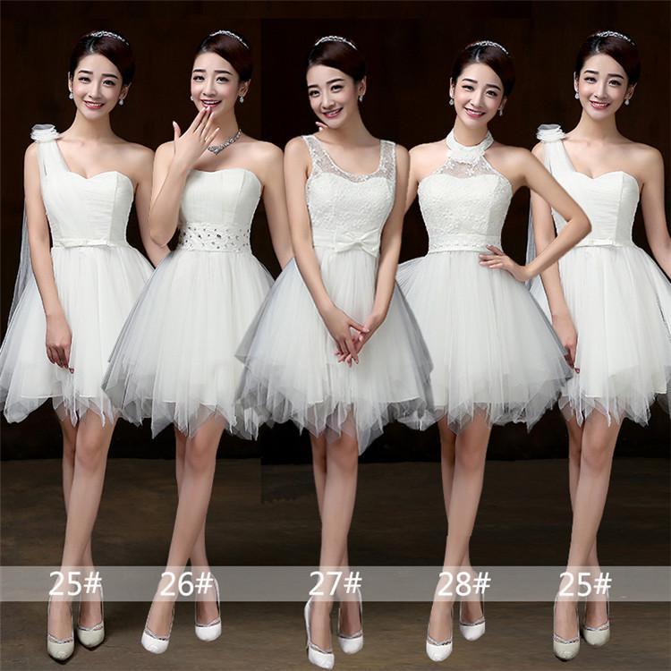 0091ec94a547d Compre 2018 Nuevos Vestidos De Dama De Honor Cortos Blancos Mujeres Boda  Fiesta De Graduación Cóctel Elegantes Vestidos De Noche Bonitos Hermosos  Vestidos ...