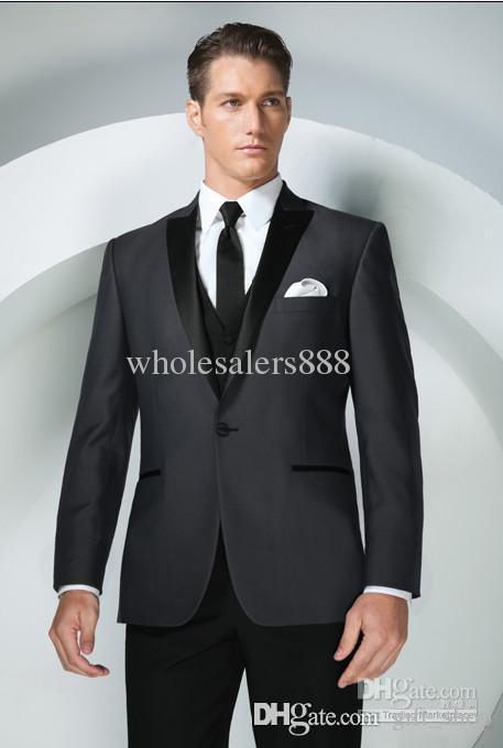 2017 Brand New Groom Tuxedos Charcoal Grey Peak Lapel Best Man ...