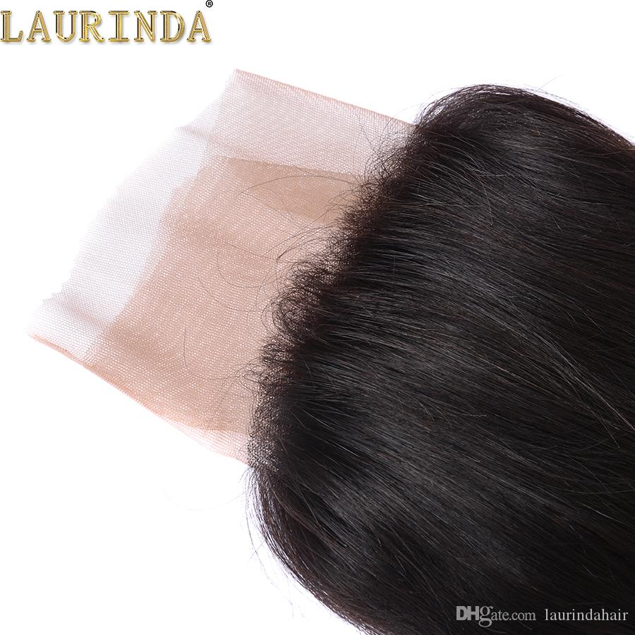 Laurinda 13 * 4 Кружева лобного закрывающего 3шта много Straight бразильских человеческих волос переплетения 9А норка Бразильского Девы волос продукт Кружево Фронтальная Закрытие