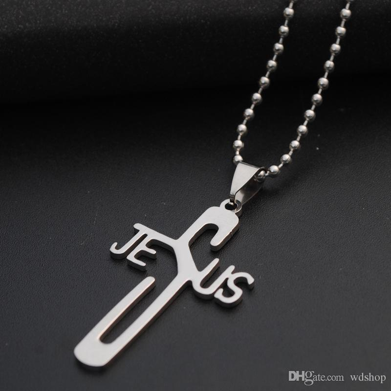 JESUS Stainless Steel Necklace Pendant Hot Sale Cross Prayer Christ Men Jewelry Silver Color Free Chain Drop Shipping