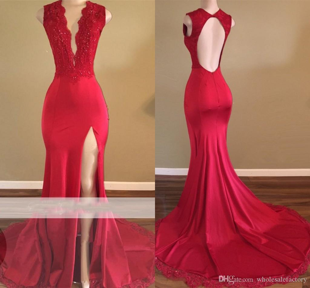 Red Prom Dresses Mermaid 2017 Sexy Deep V Neck High Split Formal Evening  Dress Open Back Crystal Prom Gowns New Arrival Shop For Prom Dresses Short  Prom ... 39dbf6215