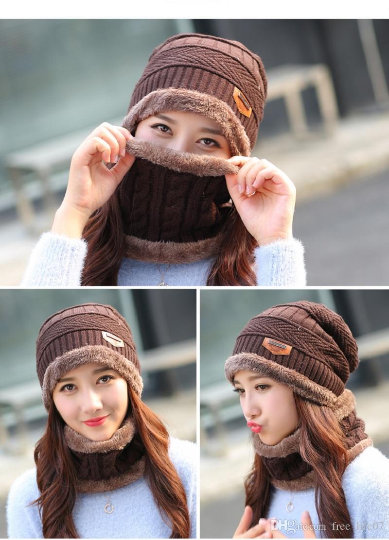 91f9cbf9f58 Winter Women Wool Hat Ski Face Mask Cap Neck Warmer Scarf Knitted Beanie  Thick Hats Set Female Skullies Beanies Fleece Caps Flat Caps For Men Womens  ...
