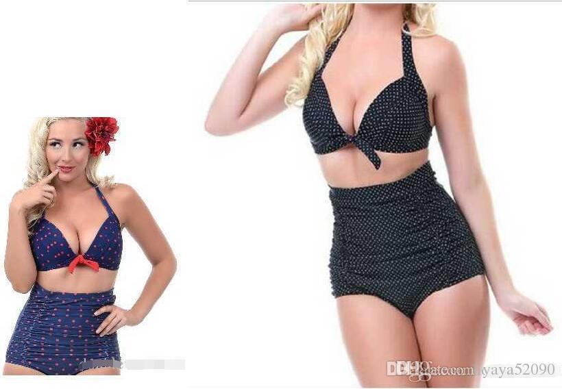 Costumi da bagno biquini stile europeo e americano donna Prudent Bikini a vita alta retrò Costumi da bagno donna sexy Plus Size
