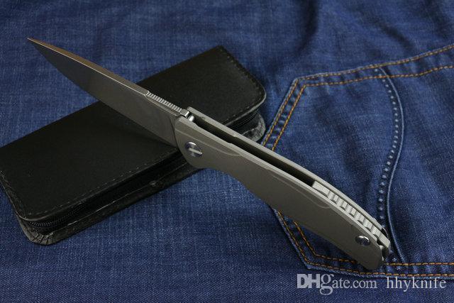 High End Yeni Tasarım D2 çelik Flipper katlama bıçak 60HRC Stonewash Finish Bırak Noktası bıçak EDC Cep bıçak Açık survival taktik bıçaklar