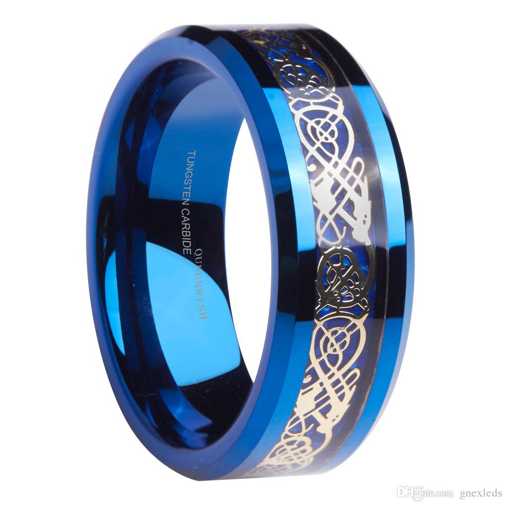 2018 Queenwish Engagement Rings 8mm Blue Tungsten Ring Gold Celtic