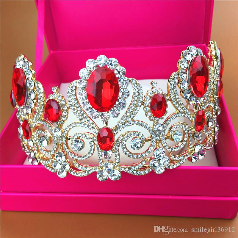 Gold Vintage Princess Bridal Wedding Rhinestone Crystal Crown Headbands Tiaras Headpiece Hair Accessories Handmade Jewelry Red Retail