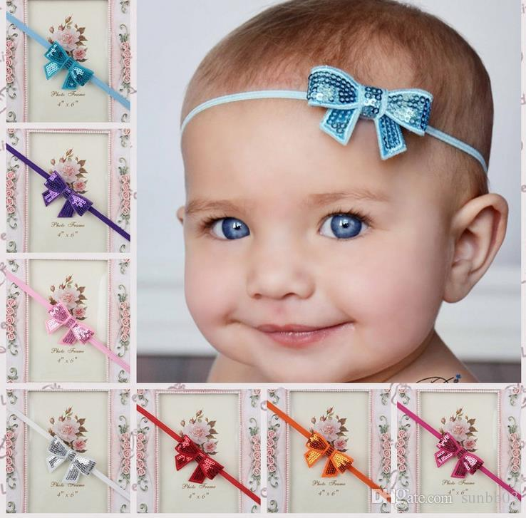 Hot Europe Infant Baby Sequins Bowknot Baby Hair Bows Head Band Elastic Hairbands Hair Accessories Cute Embroidery Headbands