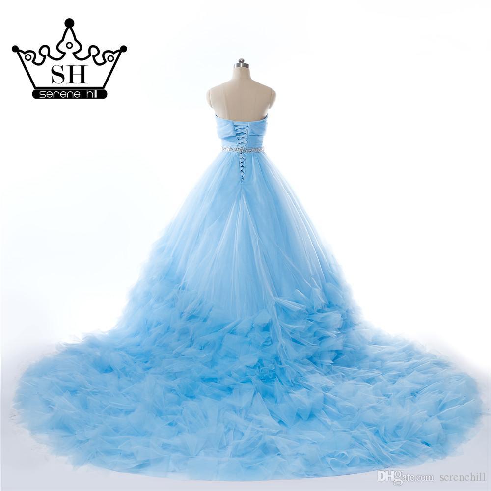 Compre Vestido De Novia De Tren Largo Azul Vestido De Tren Sin ...