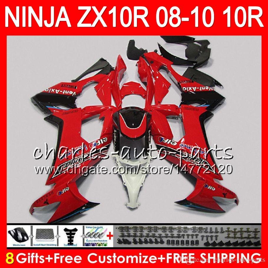 8Gifts Body Pour KAWASAKI NINJA ZX 10 R ZX10R 08 09 10 47HM9 rouge noir ZX 10R ZX1000 C ZX1000C ZX-10R 2008 2009 2010 Kit de carénage