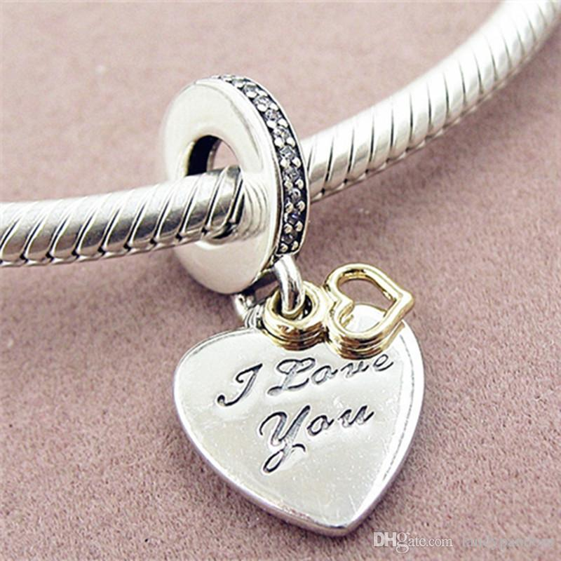 68b23b56a00a3 Loose Bead 925 Sterling Silver Love You Forever Dangle Charm with 14k Real  Gold Fits European Pandora Jewelry Bracelet Necklace & Pendant