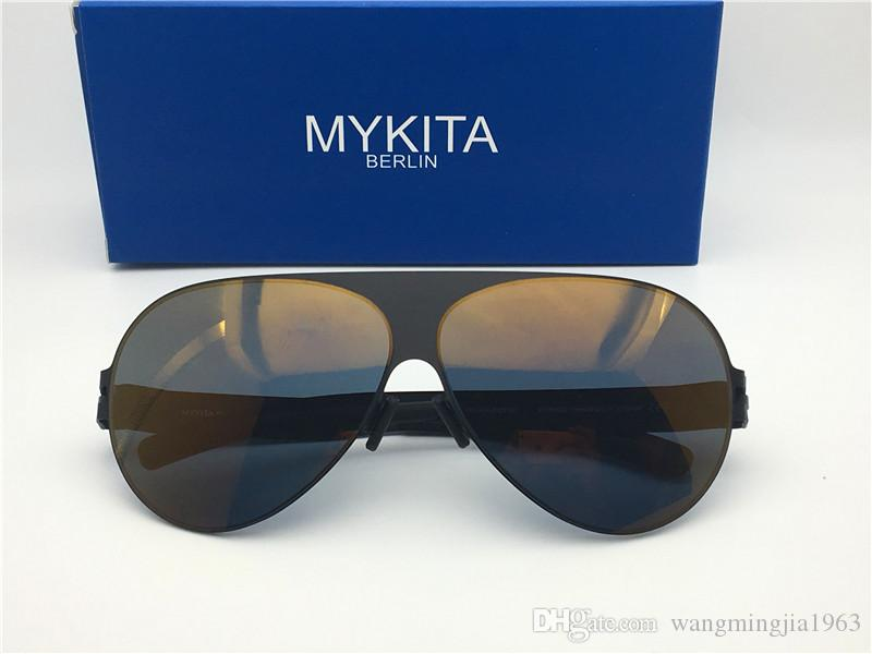 New mykita sunglasses for man Franz pilot frame with mirror ultralight frame Memory Alloy oversized sunglasses for women cool outdoor design