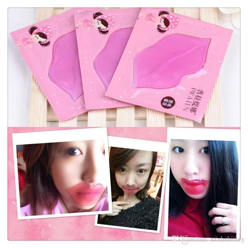 Hot Lip Masks Pilaten Skin Face Care Mask Crystal Collagen Lips Care Gel Moisture Essence Anti Ageing Wrinkle Pads Mask Free Shipping