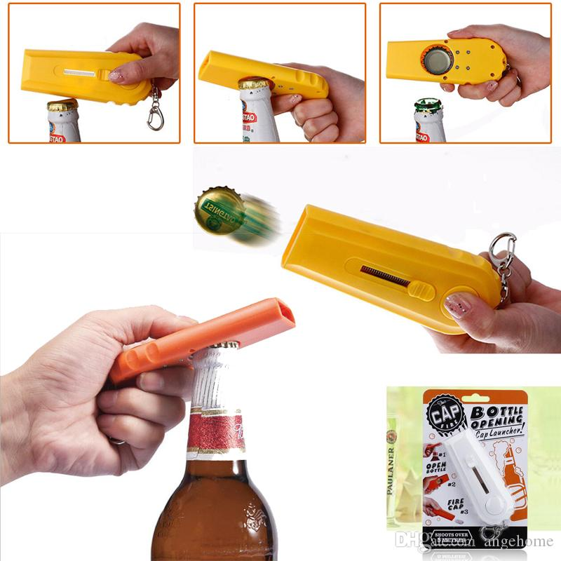 High Quality Portable Flying Cap Zappa bottle opening cap launcher Keychain,Bar Kitchen beer Bottle Opener key ring with package