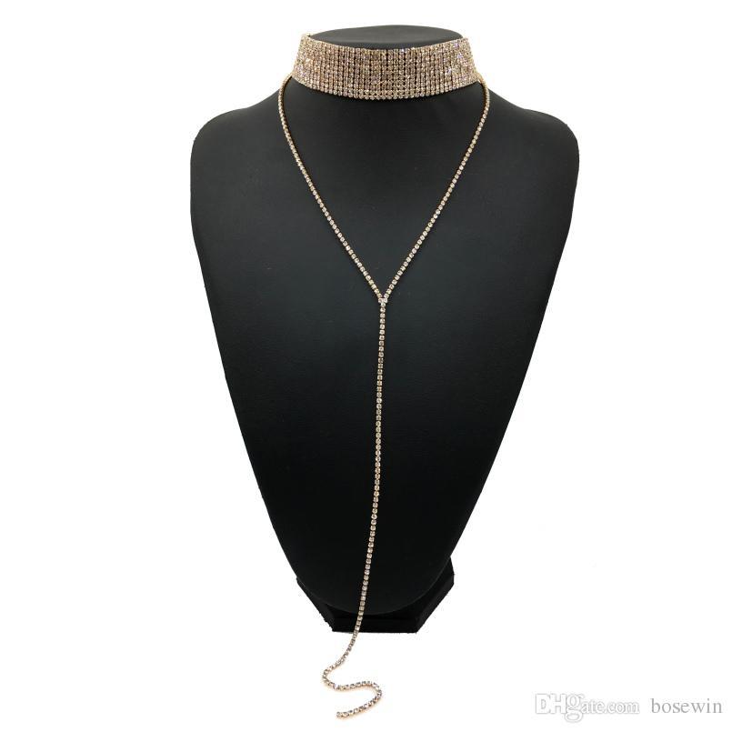 Moda Rhinestones Gerdanlık Bildirimi Kolye Kadınlar Lüks Kristal Chokers Kolye Maxi Yaka Tork Aksesuarları