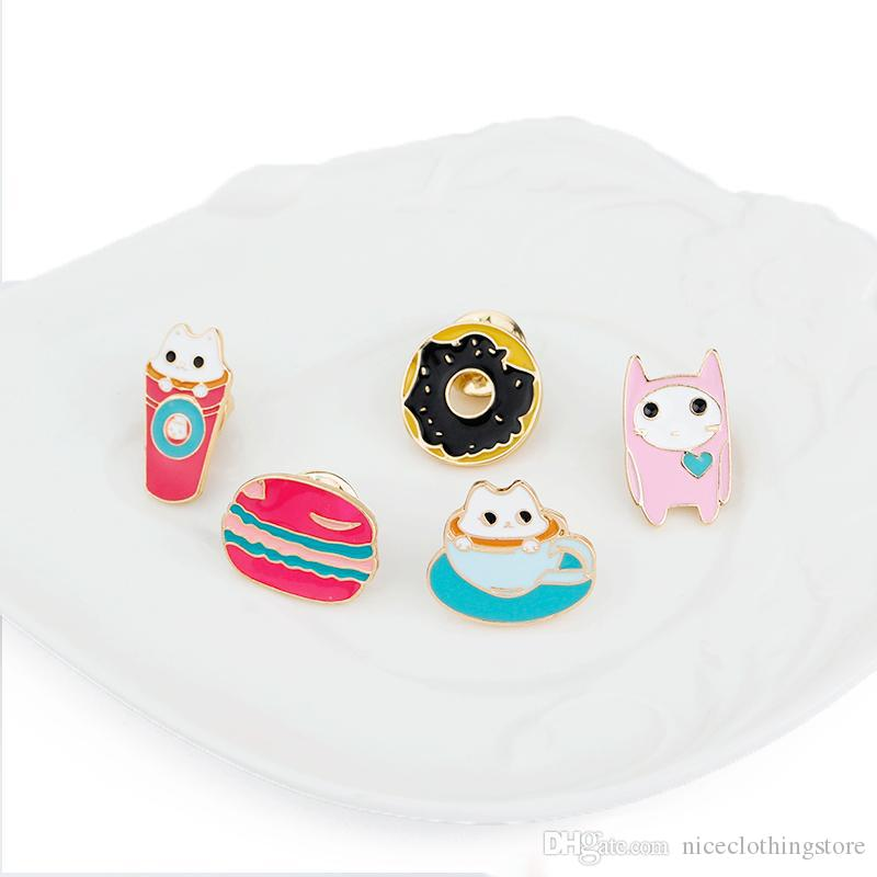 Enamel Cute Small Cups Cats Ice Cream Donuts Brooch Collar Brooch for Women Badges Fashion Jewelry Wholesale Collar Pin Chrismas Gift