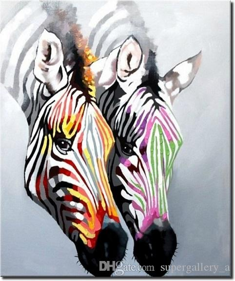 2018 Framed Zebra Love,Pure Hand Painted Modern Wall Decor Beautiful ...