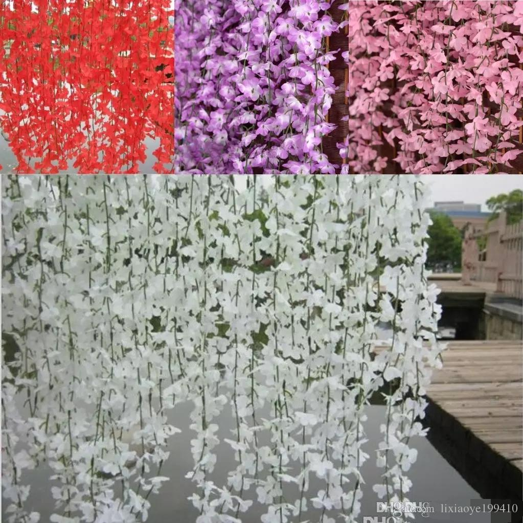 Best white red pink purple yellow artificial cherry blossom silk best white red pink purple yellow artificial cherry blossom silk flower vine wall hanging wisteria for home and wedding decorations under 12 dhgate mightylinksfo