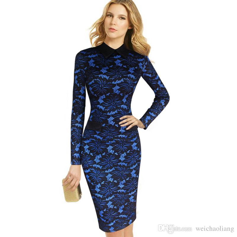 06b7b7c57aadf Lcw Womens Elegant Floral Lace Turn Down Collar Wear To Work Office  Business Party Sheath Pencil Fitted Bodycon Dress 1 Sundresses For Sale  Cocktail Evening ...