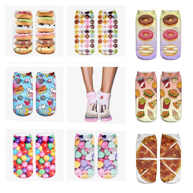 11 Farben Raum Kuchen Grafik 3D Full Print Frauen niedlich Unisex Low Cut Söckchen mehrere Farben Baumwolle Socke Casual Strumpfwaren
