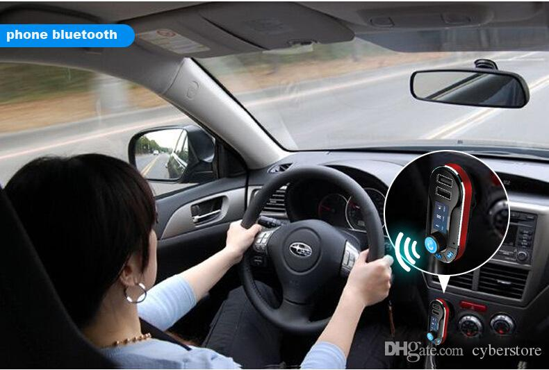 Doppio USB Car Charger FM BT66 trasmettitore Bluetooth a mani libere a cristalli liquidi MP3 telefono Giocatore di Radio Adapter Kit caricatore mobile astuto